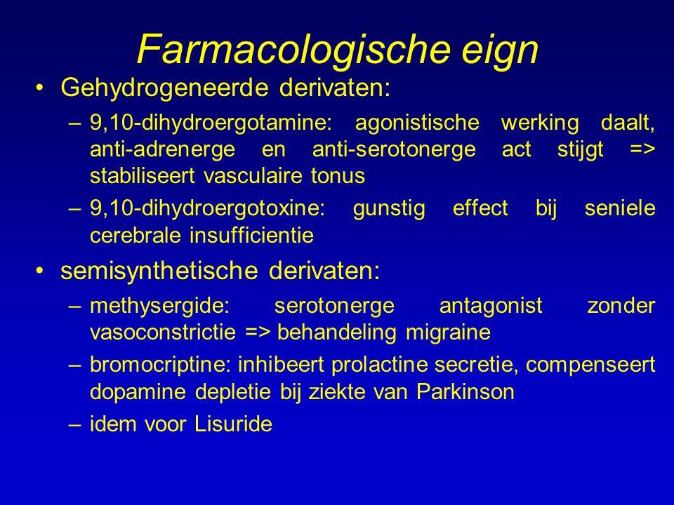 Farmacologische eign Gehydrogeneerde derivaten: –9,10-dihydroergotamine: agonistische werking daalt, anti-adrenerge en anti-serotonerge act stijgt =>