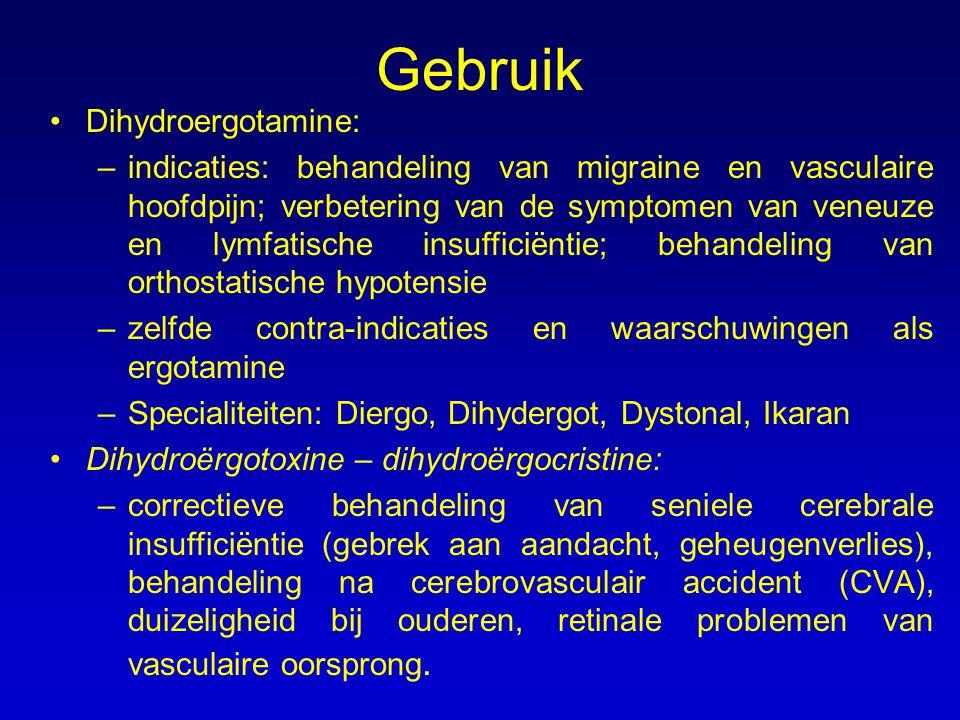 Gebruik Dihydroergotamine: –indicaties: behandeling van migraine en vasculaire hoofdpijn; verbetering van de symptomen van veneuze en lymfatische insu