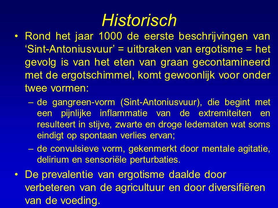 Historisch Rond het jaar 1000 de eerste beschrijvingen van 'Sint-Antoniusvuur' = uitbraken van ergotisme = het gevolg is van het eten van graan gecont