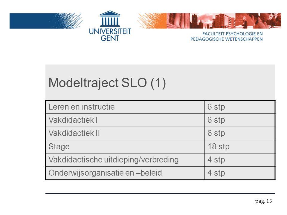 Modeltraject SLO (1) Leren en instructie6 stp Vakdidactiek I6 stp Vakdidactiek II6 stp Stage18 stp Vakdidactische uitdieping/verbreding4 stp Onderwijsorganisatie en –beleid4 stp pag.