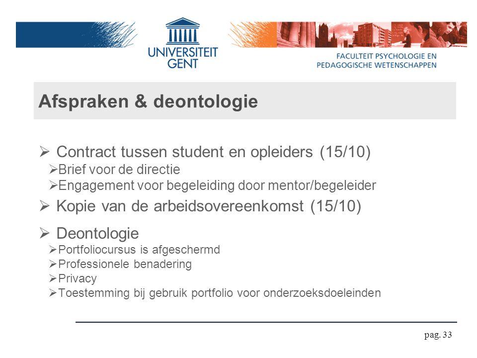 Afspraken & deontologie  Contract tussen student en opleiders (15/10)  Brief voor de directie  Engagement voor begeleiding door mentor/begeleider 