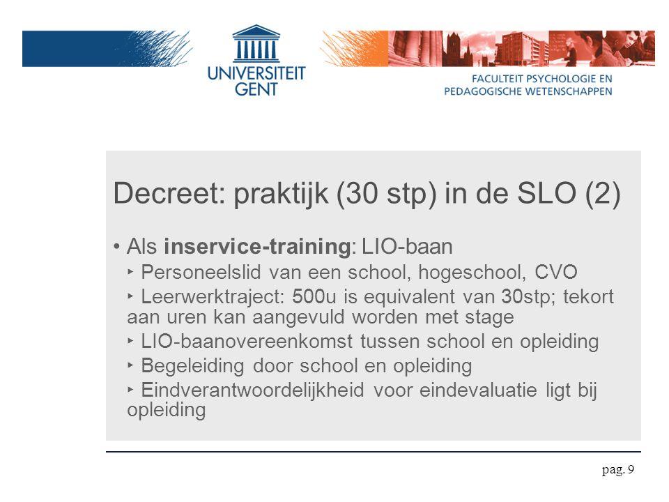 Decreet: praktijk (30 stp) in de SLO (2) Als inservice-training: LIO-baan ‣ Personeelslid van een school, hogeschool, CVO ‣ Leerwerktraject: 500u is e