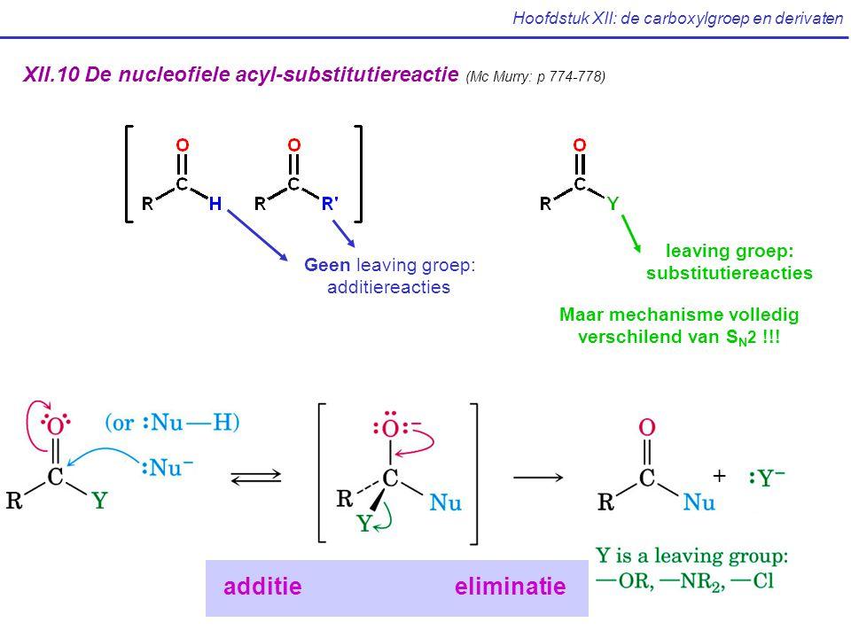 Hoofdstuk XII: de carboxylgroep en derivaten XII.10 De nucleofiele acyl-substitutiereactie (Mc Murry: p 774-778) Geen leaving groep: additiereacties leaving groep: substitutiereacties Maar mechanisme volledig verschilend van S N 2 !!.