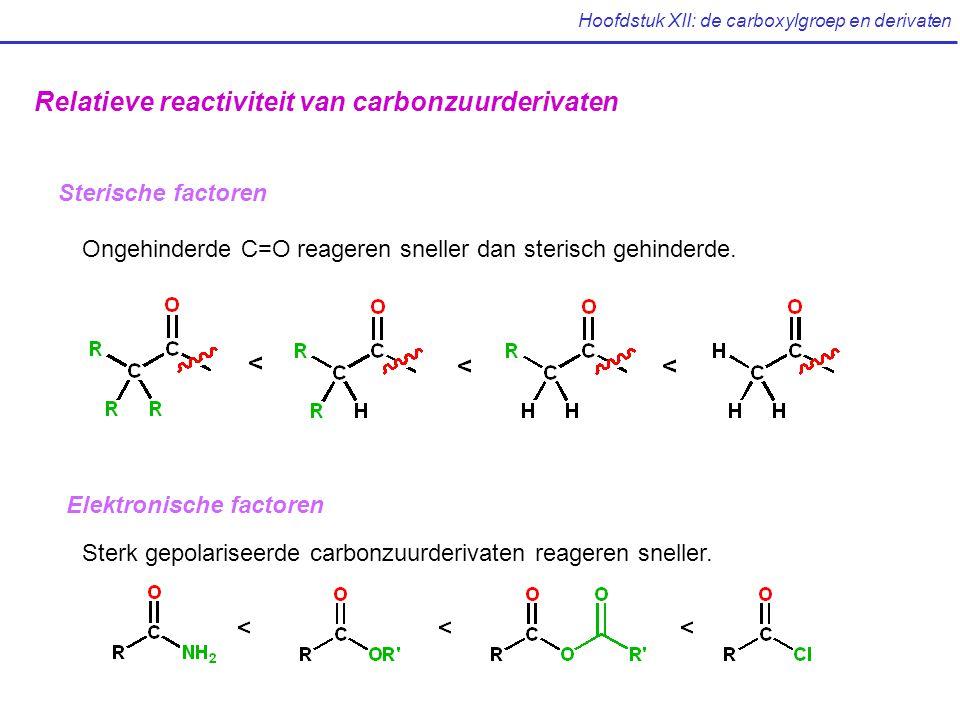 Hoofdstuk XII: de carboxylgroep en derivaten Sterische factoren Relatieve reactiviteit van carbonzuurderivaten Ongehinderde C=O reageren sneller dan sterisch gehinderde.