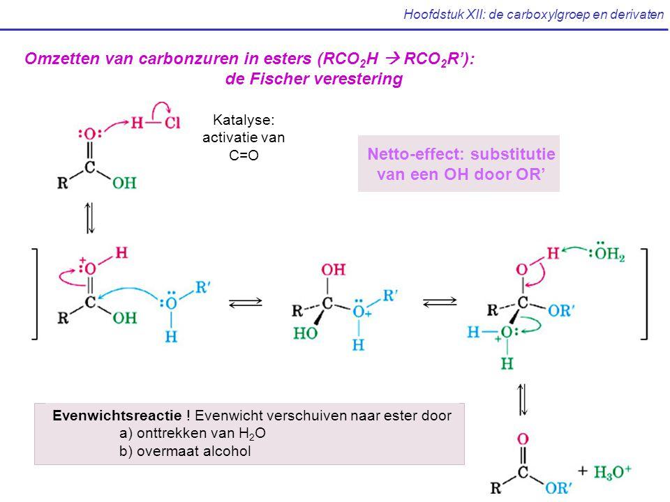 Hoofdstuk XII: de carboxylgroep en derivaten Omzetten van carbonzuren in esters (RCO 2 H  RCO 2 R'): de Fischer verestering Netto-effect: substitutie van een OH door OR' Evenwichtsreactie .