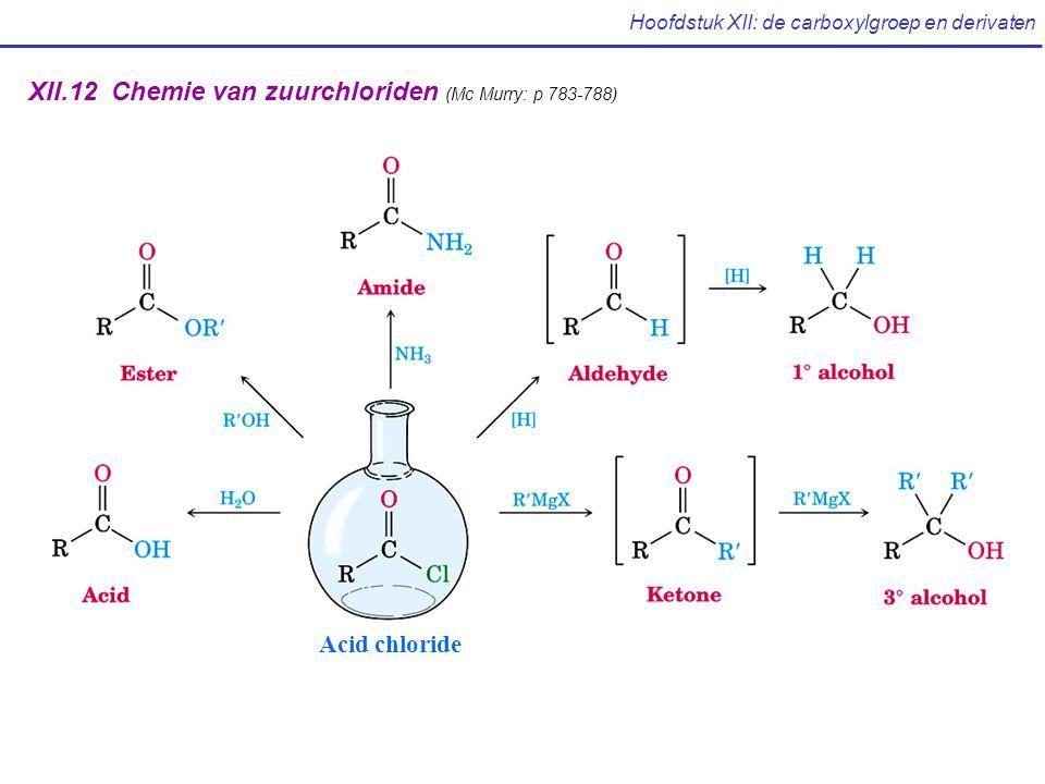 Hoofdstuk XII: de carboxylgroep en derivaten XII.12 Chemie van zuurchloriden (Mc Murry: p 783-788) Acid chloride
