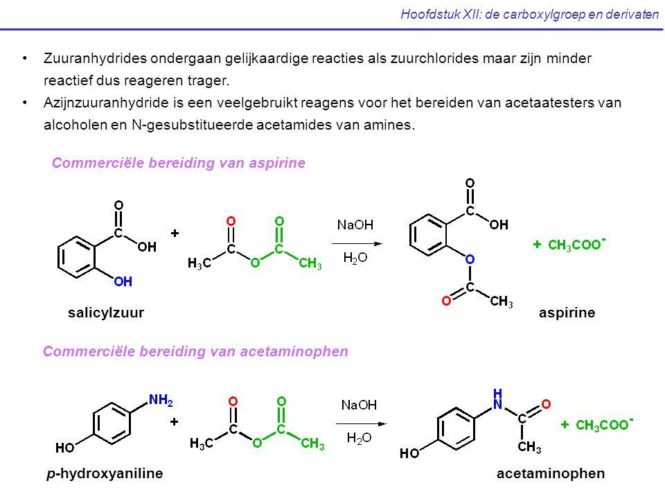 Hoofdstuk XII: de carboxylgroep en derivaten Zuuranhydrides ondergaan gelijkaardige reacties als zuurchlorides maar zijn minder reactief dus reageren trager.