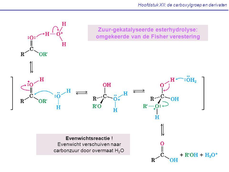 Hoofdstuk XII: de carboxylgroep en derivaten Zuur-gekatalyseerde esterhydrolyse: omgekeerde van de Fisher verestering Evenwichtsreactie .