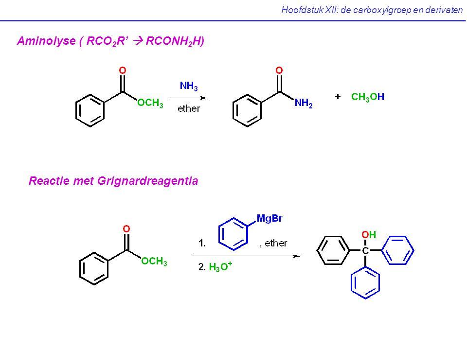 Hoofdstuk XII: de carboxylgroep en derivaten Aminolyse ( RCO 2 R'  RCONH 2 H) Reactie met Grignardreagentia