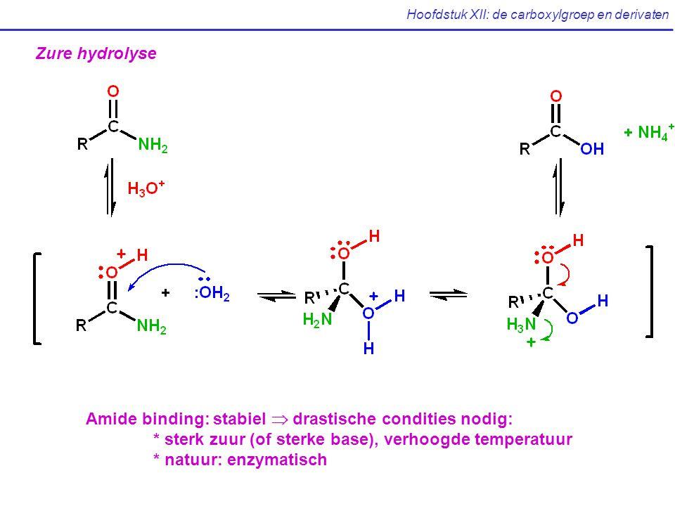 Hoofdstuk XII: de carboxylgroep en derivaten Zure hydrolyse Amide binding: stabiel  drastische condities nodig: * sterk zuur (of sterke base), verhoogde temperatuur * natuur: enzymatisch