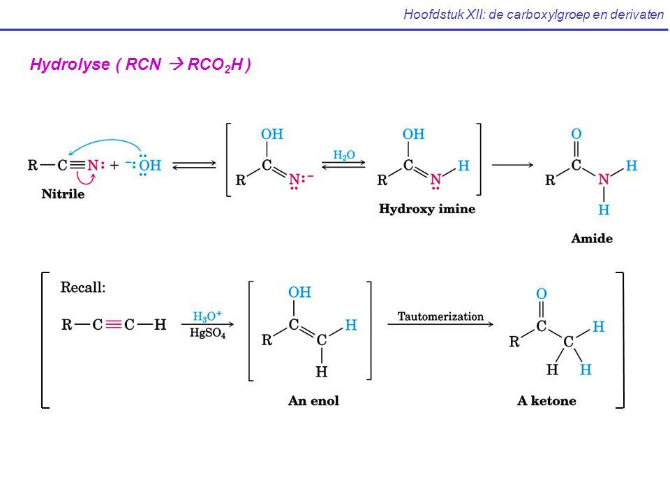 Hoofdstuk XII: de carboxylgroep en derivaten Hydrolyse ( RCN  RCO 2 H )