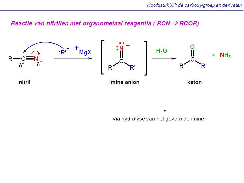 Hoofdstuk XII: de carboxylgroep en derivaten Reactie van nitrillen met organometaal reagentia ( RCN  RCOR) nitrilImine anionketon Via hydrolyse van het gevormde imine