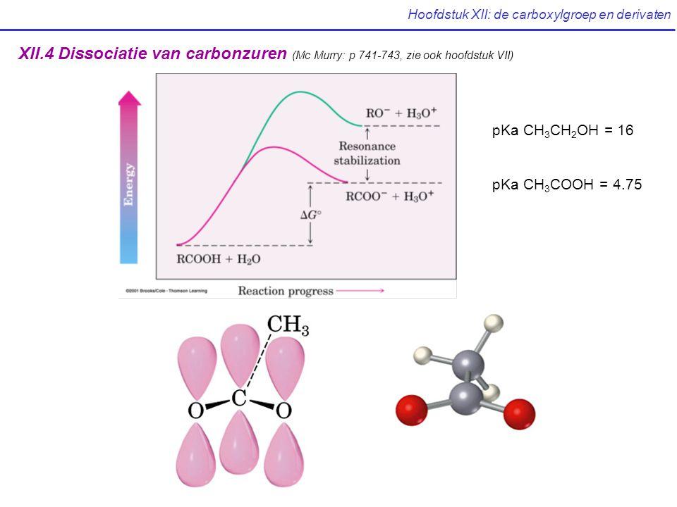 Hoofdstuk XII: de carboxylgroep en derivaten XII.4 Dissociatie van carbonzuren (Mc Murry: p 741-743, zie ook hoofdstuk VII) pKa CH 3 CH 2 OH = 16 pKa CH 3 COOH = 4.75