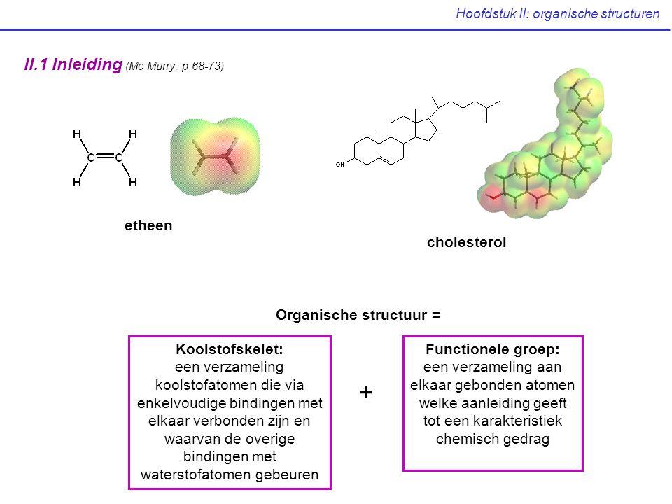 Hoofdstuk II: organische structuren II.1 Inleiding (Mc Murry: p 68-73) etheen cholesterol Functionele groep: een verzameling aan elkaar gebonden atomen welke aanleiding geeft tot een karakteristiek chemisch gedrag Koolstofskelet: een verzameling koolstofatomen die via enkelvoudige bindingen met elkaar verbonden zijn en waarvan de overige bindingen met waterstofatomen gebeuren Organische structuur = +