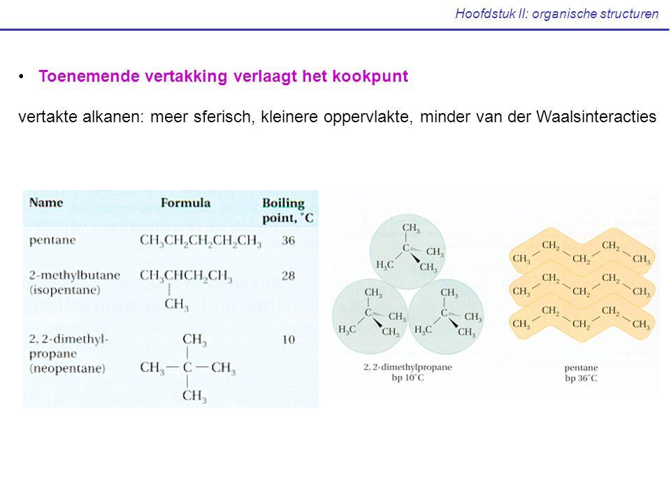 Hoofdstuk II: organische structuren Toenemende vertakking verlaagt het kookpunt vertakte alkanen: meer sferisch, kleinere oppervlakte, minder van der Waalsinteracties