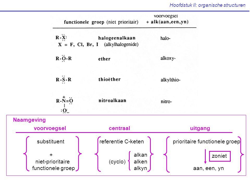 voorvoegselcentraal uitgang substituent referentie C-keten prioritaire functionele groep + alkan niet-prioritaire (cyclo) alken functionele groep alkyn aan, een, yn zoniet Naamgeving