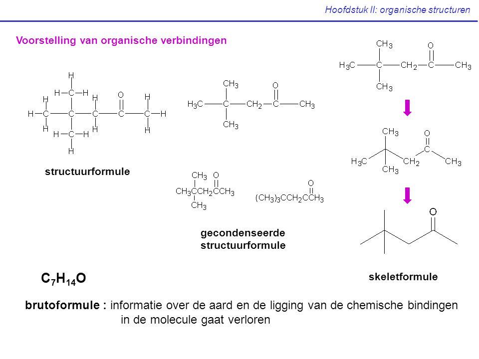 Hoofdstuk II: organische structuren Voorstelling van organische verbindingen structuurformule gecondenseerde structuurformule skeletformule C 7 H 14 O brutoformule : informatie over de aard en de ligging van de chemische bindingen in de molecule gaat verloren