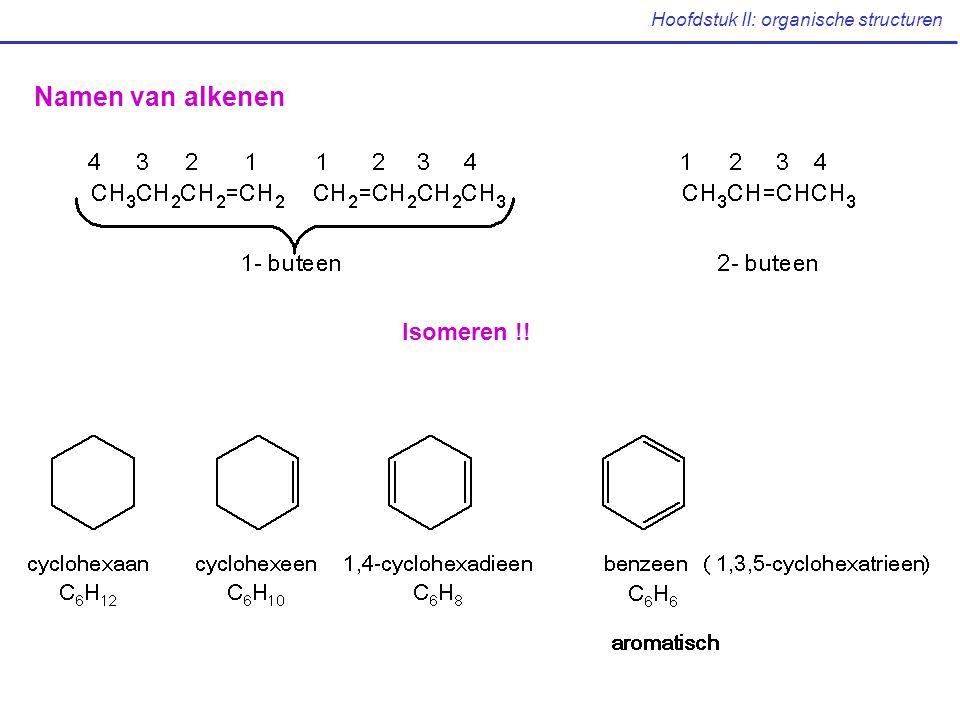 Hoofdstuk II: organische structuren Ethers relatief chemisch inert, goed oplossend vermogen oplosmiddel ethoxyethaan (gebruiksnaam: diëthylether)vluchtig, brandbaar tetrahydrofuran (THF), 1,2-dimethoxyethaan (gebruiksnaam: glyme) Belangrijke voorbeelden oxiraanoxetaanfuran tetrahydro- furan pyran tetrahydro- pyran 1,4-dioxaan