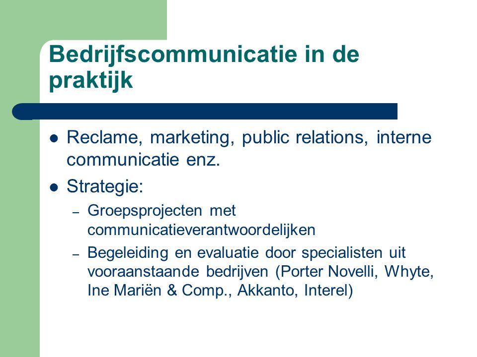 Bedrijfscommunicatie in de praktijk Techniek: – Presenteren, vergaderen, onderhandelen – Persuasief schrijven (verkoopsbrieven, newsletters, business plan) – In verschillende talen : Frans, Engels (+ Spaans/Duits)