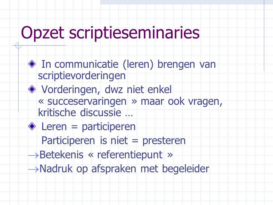Opzet scriptieseminaries Communicatie op basis van concrete gegevens  aanleg « scriptieboek », met daarin ook - afspraken met begeleider - verslag gesprek met begeleider - opvolging afspraken Gesprek met begeleider wordt voorbereid  tekst vooraf afgeven