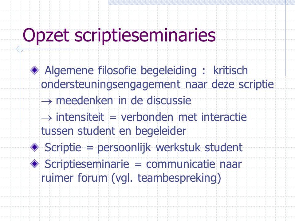 Opzet scriptieseminaries Algemene filosofie begeleiding : kritisch ondersteuningsengagement naar deze scriptie  meedenken in de discussie  intensite
