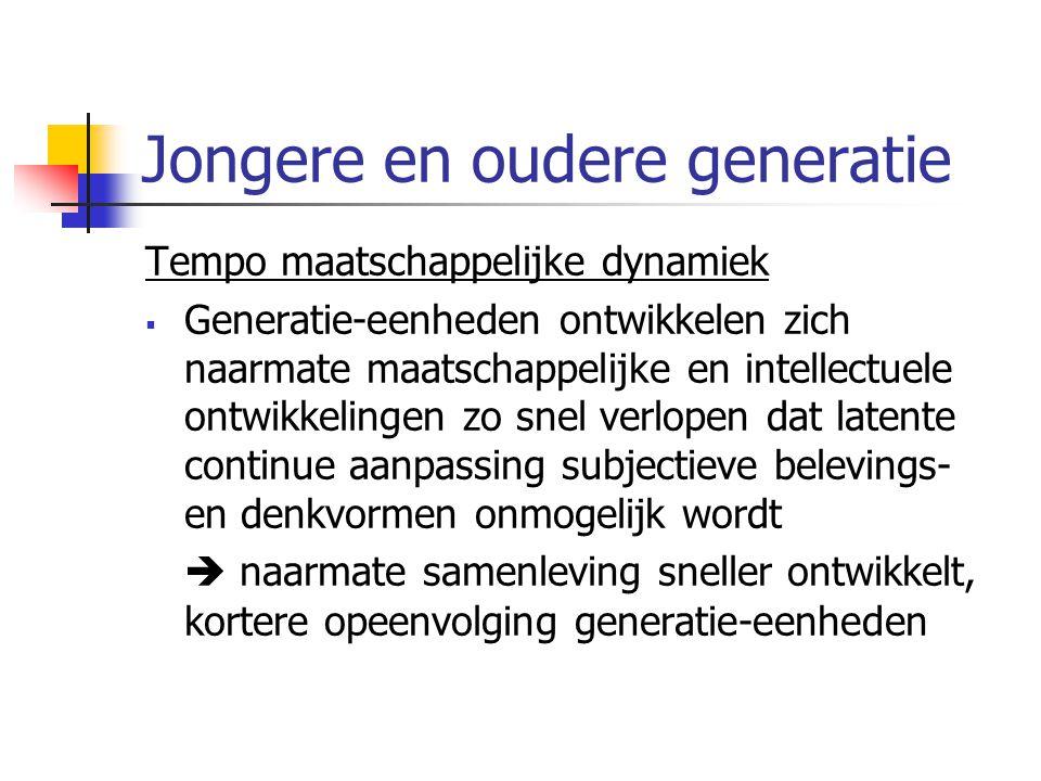 Jongere en oudere generatie Tempo maatschappelijke dynamiek  Generatie-eenheden ontwikkelen zich naarmate maatschappelijke en intellectuele ontwikkelingen zo snel verlopen dat latente continue aanpassing subjectieve belevings- en denkvormen onmogelijk wordt  naarmate samenleving sneller ontwikkelt, kortere opeenvolging generatie-eenheden