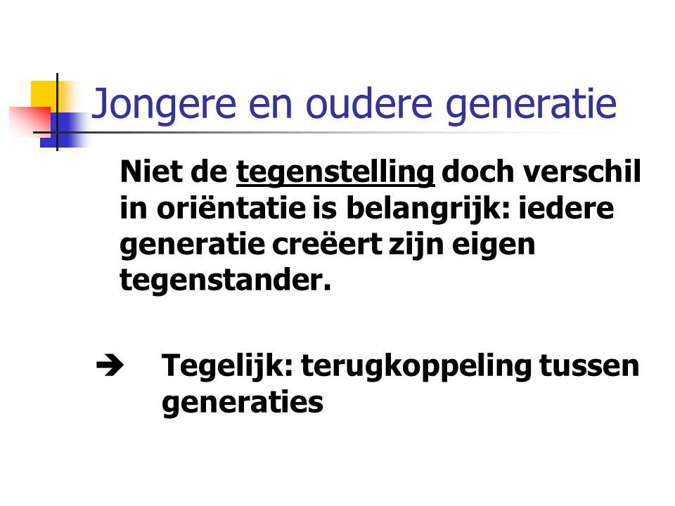 Jongere en oudere generatie Niet de tegenstelling doch verschil in oriëntatie is belangrijk: iedere generatie creëert zijn eigen tegenstander.
