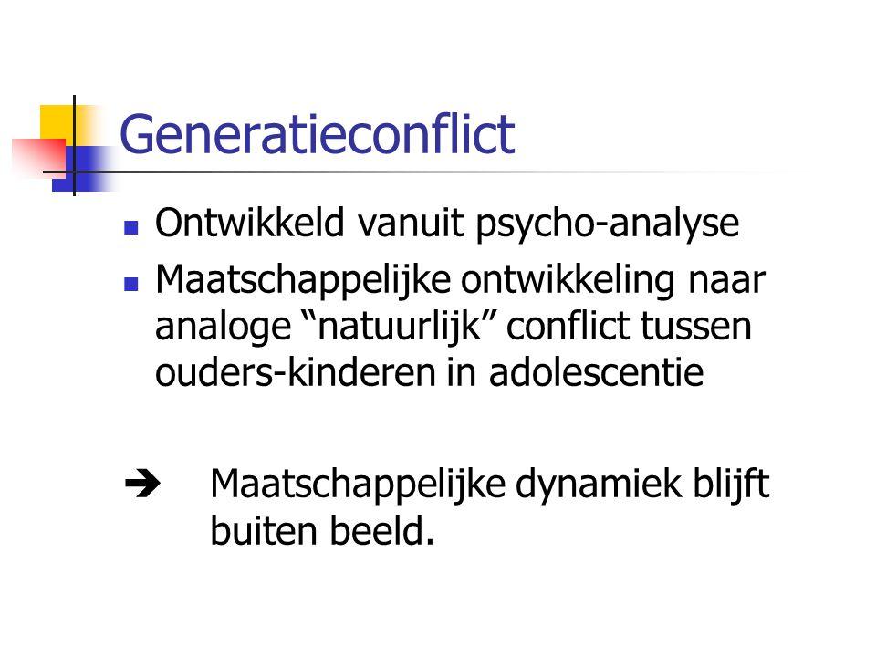 Generatieconflict Ontwikkeld vanuit psycho-analyse Maatschappelijke ontwikkeling naar analoge natuurlijk conflict tussen ouders-kinderen in adolescentie  Maatschappelijke dynamiek blijft buiten beeld.