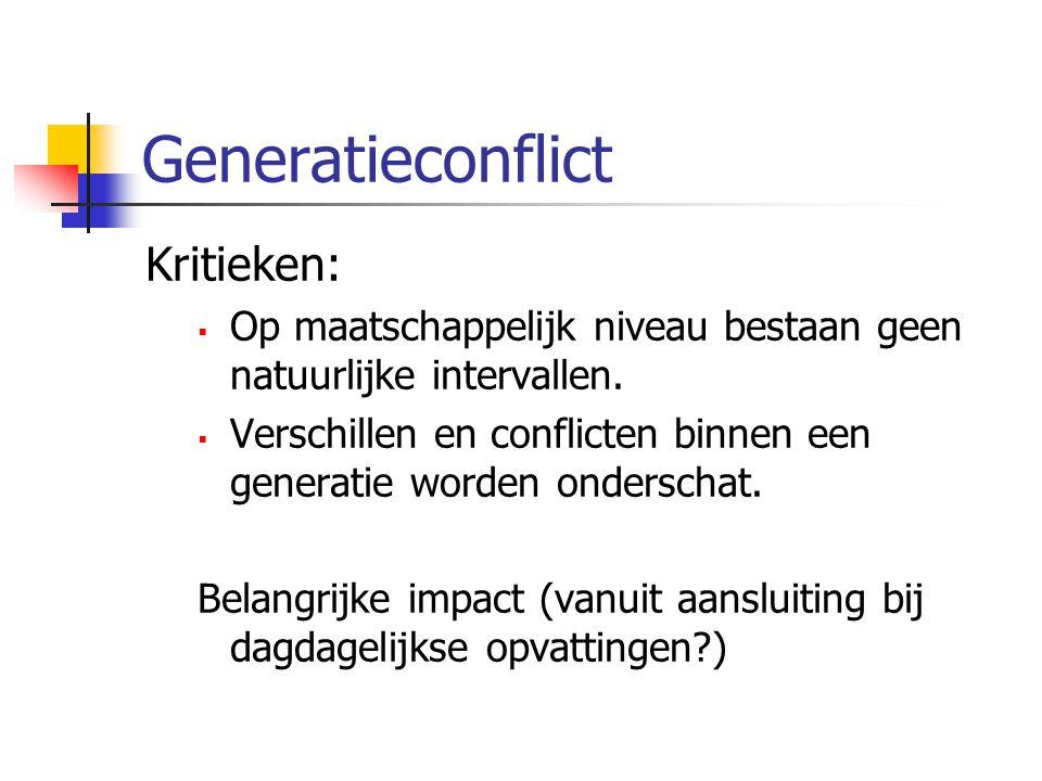 Generatieconflict Kritieken:  Op maatschappelijk niveau bestaan geen natuurlijke intervallen.