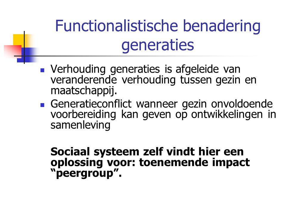 Functionalistische benadering generaties Verhouding generaties is afgeleide van veranderende verhouding tussen gezin en maatschappij.