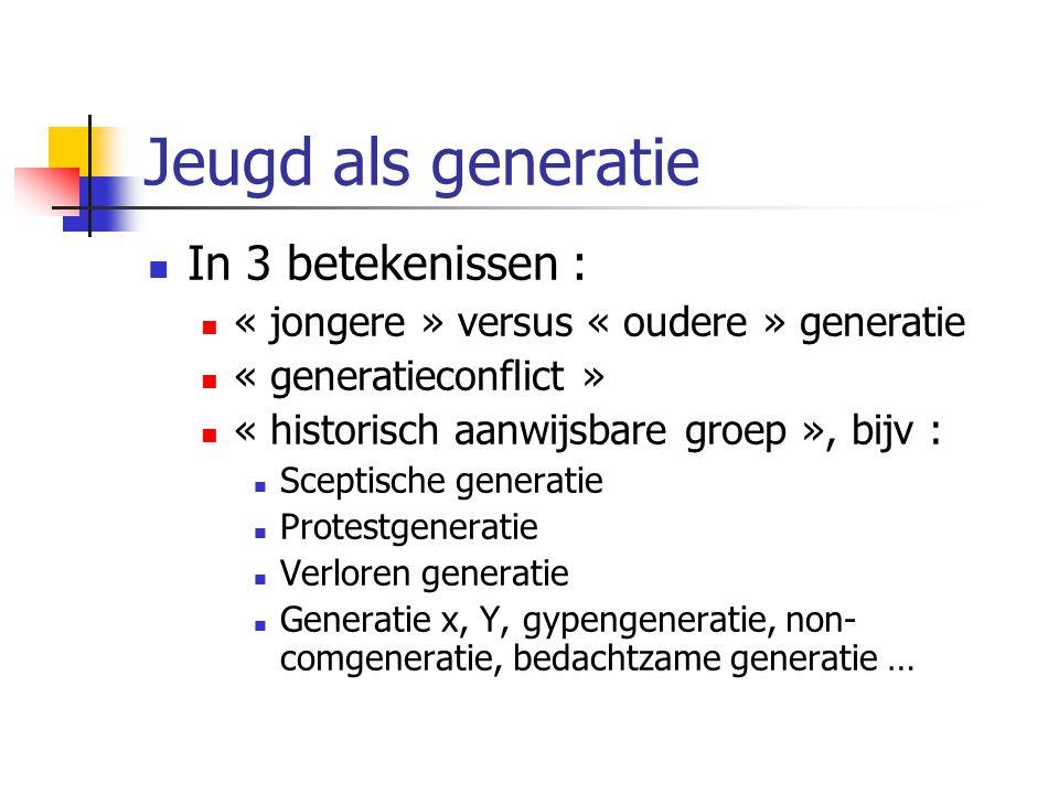 Jeugd als generatie In 3 betekenissen : « jongere » versus « oudere » generatie « generatieconflict » « historisch aanwijsbare groep », bijv : Sceptische generatie Protestgeneratie Verloren generatie Generatie x, Y, gypengeneratie, non- comgeneratie, bedachtzame generatie …