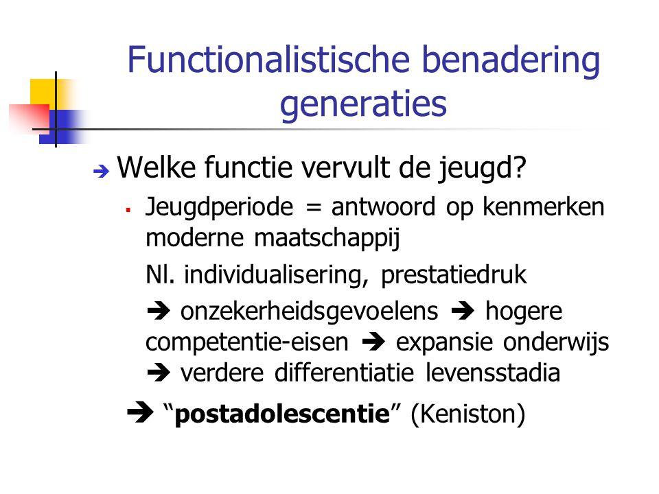 Functionalistische benadering generaties  Welke functie vervult de jeugd.