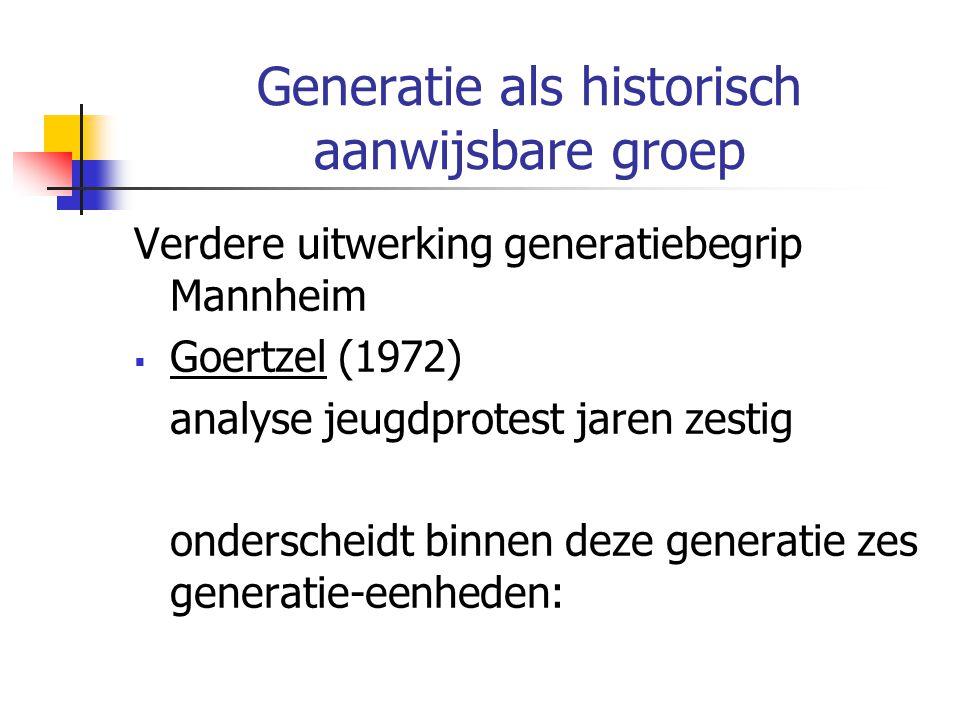 Generatie als historisch aanwijsbare groep Verdere uitwerking generatiebegrip Mannheim  Goertzel (1972) analyse jeugdprotest jaren zestig onderscheidt binnen deze generatie zes generatie-eenheden: