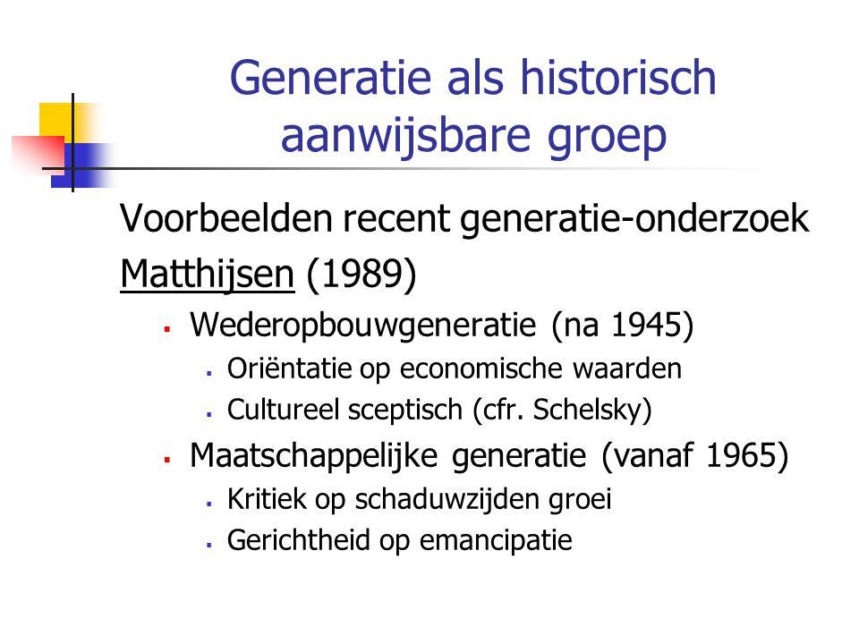 Generatie als historisch aanwijsbare groep Voorbeelden recent generatie-onderzoek Matthijsen (1989)  Wederopbouwgeneratie (na 1945)  Oriëntatie op economische waarden  Cultureel sceptisch (cfr.