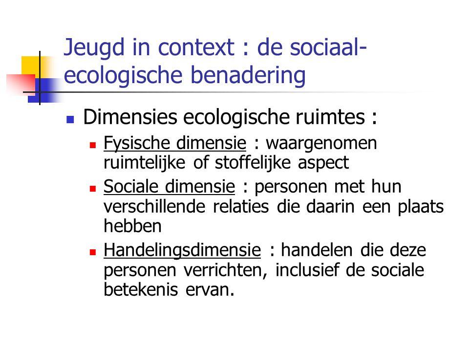 Jeugd in context : de sociaal- ecologische benadering Dimensies ecologische ruimtes : Fysische dimensie : waargenomen ruimtelijke of stoffelijke aspect Sociale dimensie : personen met hun verschillende relaties die daarin een plaats hebben Handelingsdimensie : handelen die deze personen verrichten, inclusief de sociale betekenis ervan.