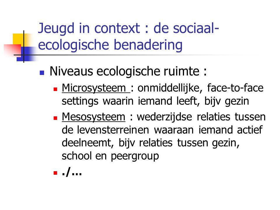 Jeugd in context : de sociaal- ecologische benadering Niveaus ecologische ruimte : Microsysteem : onmiddellijke, face-to-face settings waarin iemand leeft, bijv gezin Mesosysteem : wederzijdse relaties tussen de levensterreinen waaraan iemand actief deelneemt, bijv relaties tussen gezin, school en peergroup./…