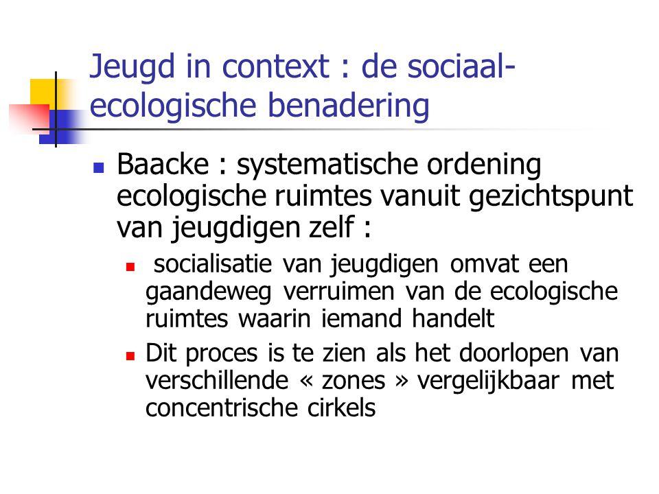 Jeugd in context : de sociaal- ecologische benadering Baacke : systematische ordening ecologische ruimtes vanuit gezichtspunt van jeugdigen zelf : socialisatie van jeugdigen omvat een gaandeweg verruimen van de ecologische ruimtes waarin iemand handelt Dit proces is te zien als het doorlopen van verschillende « zones » vergelijkbaar met concentrische cirkels