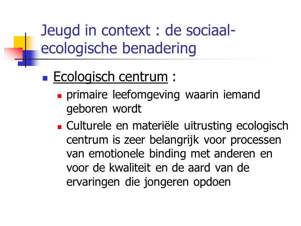 Jeugd in context : de sociaal- ecologische benadering Ecologisch centrum : primaire leefomgeving waarin iemand geboren wordt Culturele en materiële uitrusting ecologisch centrum is zeer belangrijk voor processen van emotionele binding met anderen en voor de kwaliteit en de aard van de ervaringen die jongeren opdoen