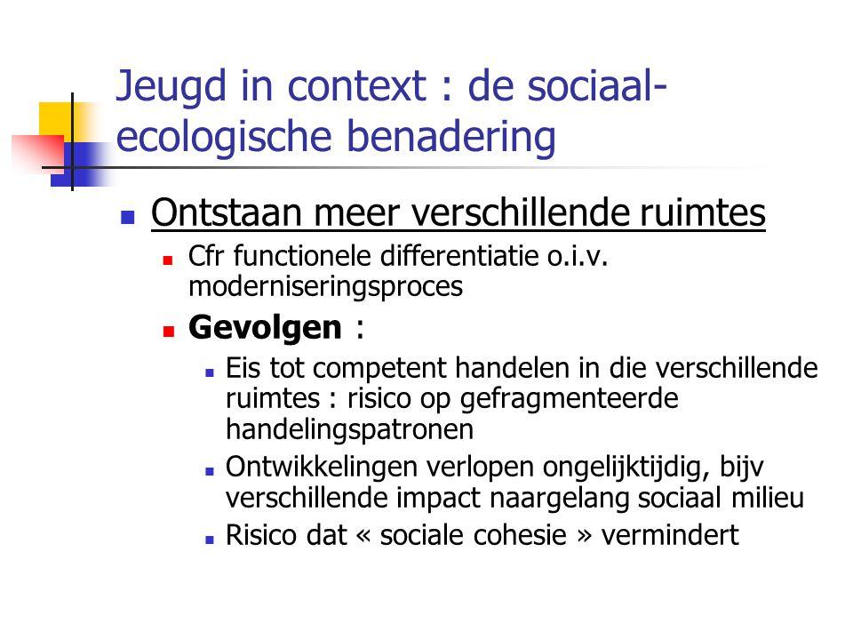 Jeugd in context : de sociaal- ecologische benadering Ontstaan meer verschillende ruimtes Cfr functionele differentiatie o.i.v.
