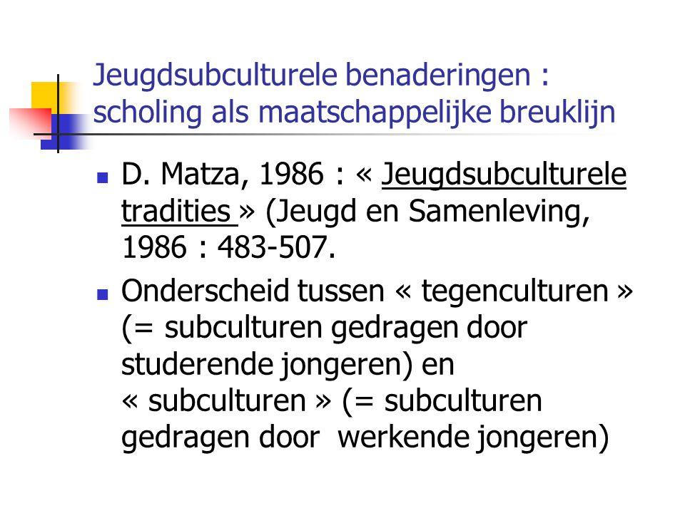 Jeugdsubculturele benaderingen : scholing als maatschappelijke breuklijn D.