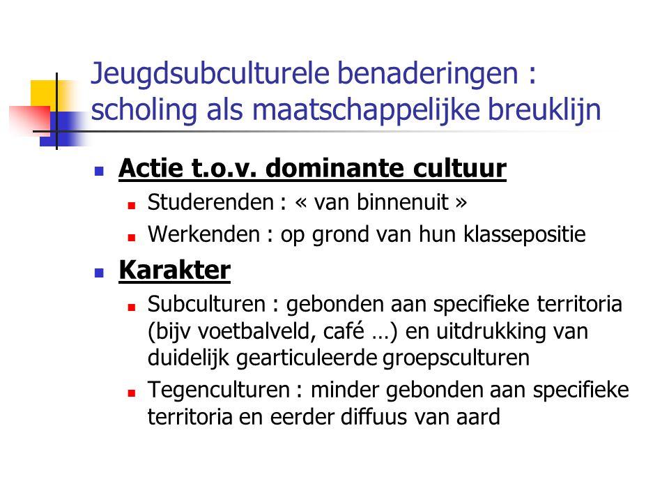Jeugdsubculturele benaderingen : scholing als maatschappelijke breuklijn Actie t.o.v.