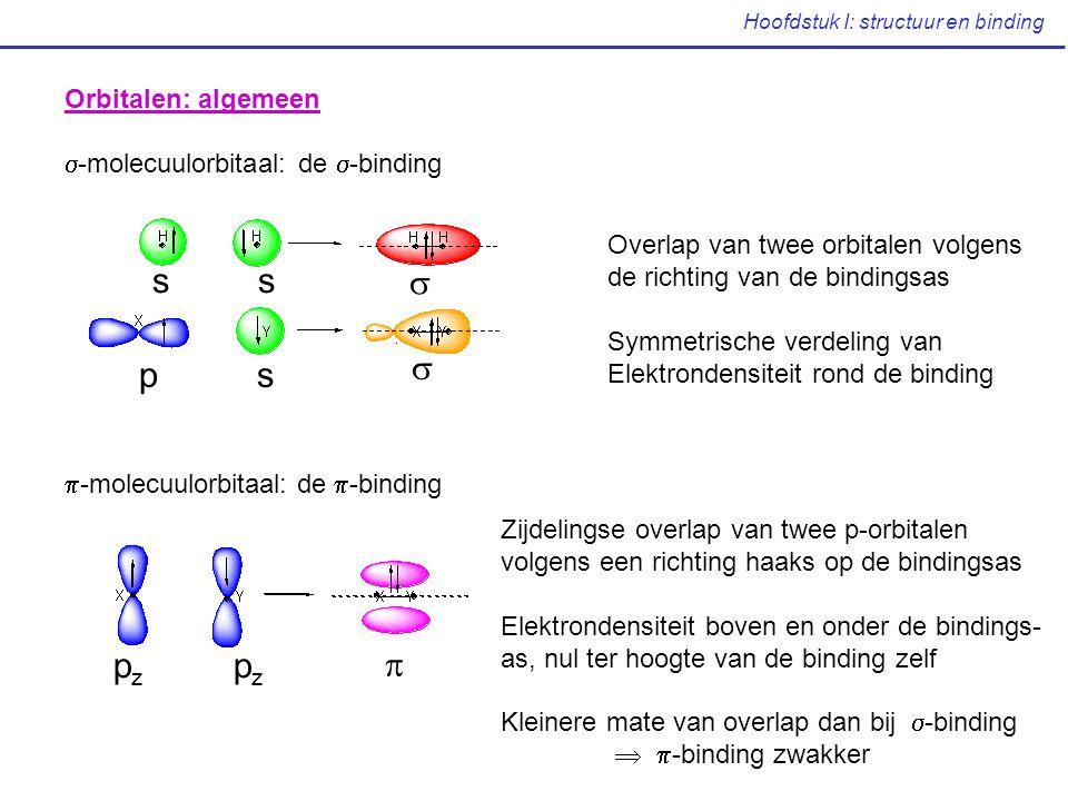 Hoofdstuk I: structuur en binding Orbitalen: algemeen  -molecuulorbitaal: de  -binding  -molecuulorbitaal: de  -binding s s p s   p z  Overlap