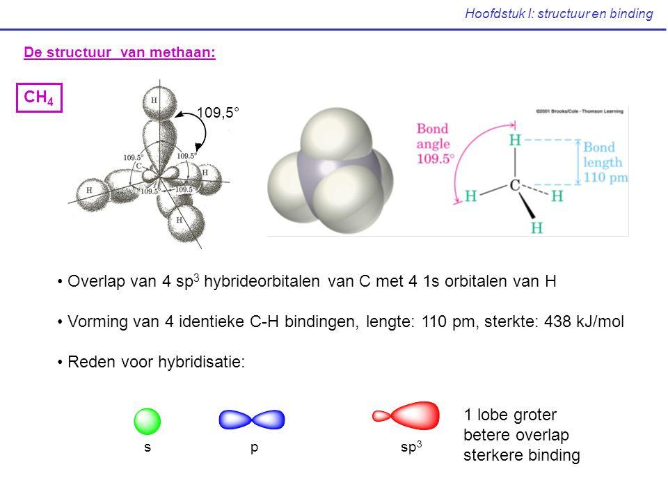 Hoofdstuk I: structuur en binding De structuur van methaan: Overlap van 4 sp 3 hybrideorbitalen van C met 4 1s orbitalen van H Vorming van 4 identieke