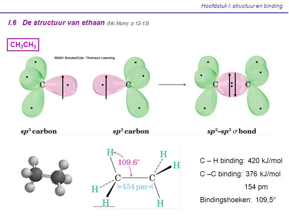 Hoofdstuk I: structuur en binding I.6 De structuur van ethaan (Mc Murry: p 12-13) CH 3 C – H binding: 420 kJ/mol C –C binding: 376 kJ/mol 154 pm Bindi