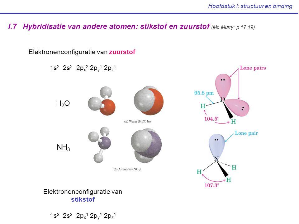 Hoofdstuk I: structuur en binding I.7 Hybridisatie van andere atomen: stikstof en zuurstof (Mc Murry: p 17-19) Elektronenconfiguratie van stikstof 1s