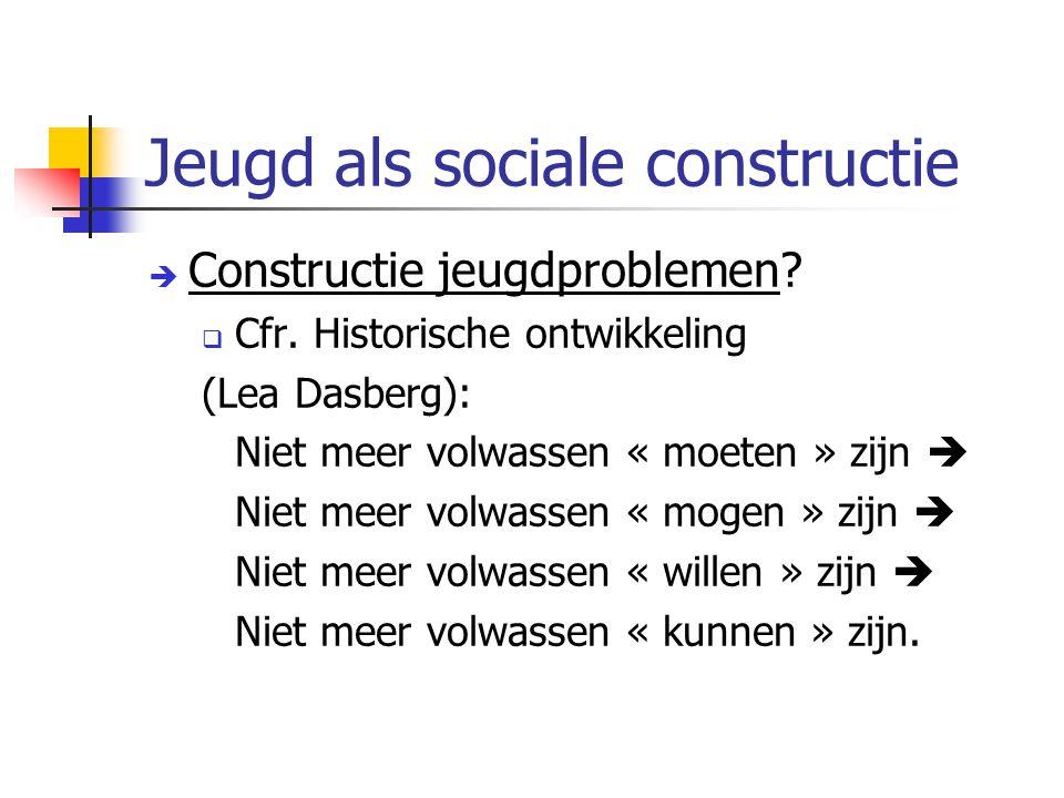Jeugd als sociale constructie  Constructie jeugdproblemen?  Cfr. Historische ontwikkeling (Lea Dasberg): Niet meer volwassen « moeten » zijn  Niet