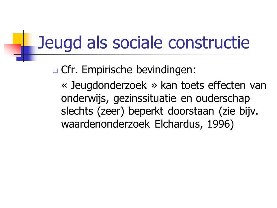 Jeugd als sociale constructie  Cfr. Empirische bevindingen: « Jeugdonderzoek » kan toets effecten van onderwijs, gezinssituatie en ouderschap slechts