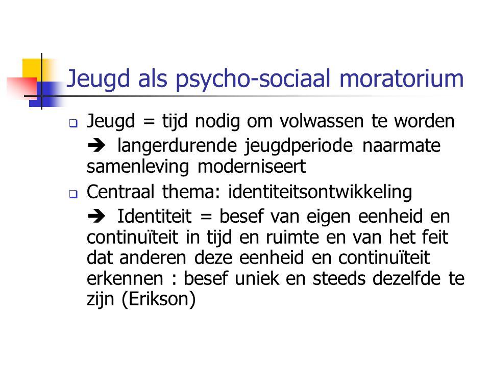 Jeugd als psycho-sociaal moratorium  Jeugd = tijd nodig om volwassen te worden  langerdurende jeugdperiode naarmate samenleving moderniseert  Centr