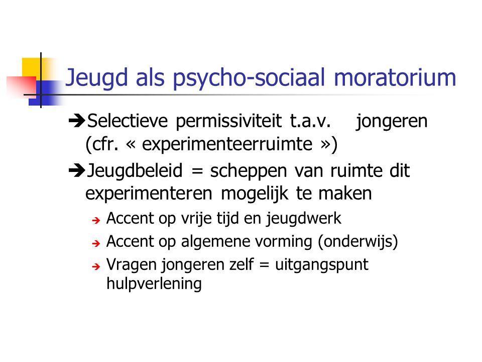 Jeugd als psycho-sociaal moratorium  Selectieve permissiviteit t.a.v. jongeren (cfr. « experimenteerruimte »)  Jeugdbeleid = scheppen van ruimte dit