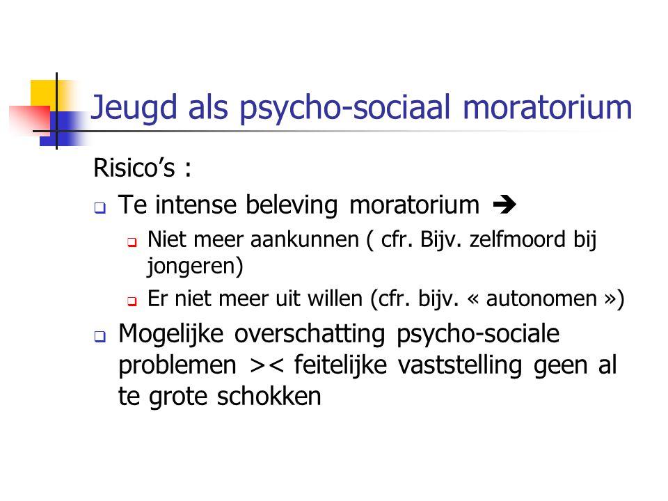 Jeugd als psycho-sociaal moratorium Risico's :  Te intense beleving moratorium   Niet meer aankunnen ( cfr. Bijv. zelfmoord bij jongeren)  Er niet